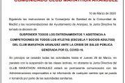 COMUNICADO CLUB MARATHONA ARANJUEZ SOBRE COVID19